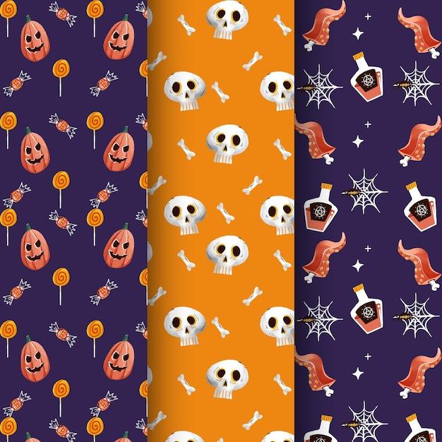 Collezione di pattern di halloween dell'acquerello Vettore gratuito