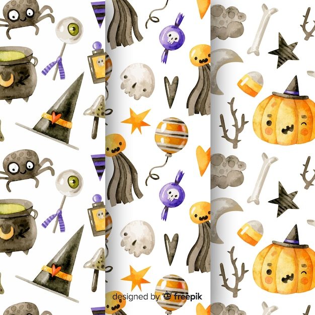 Watercolor halloween pattern collection Free Vector