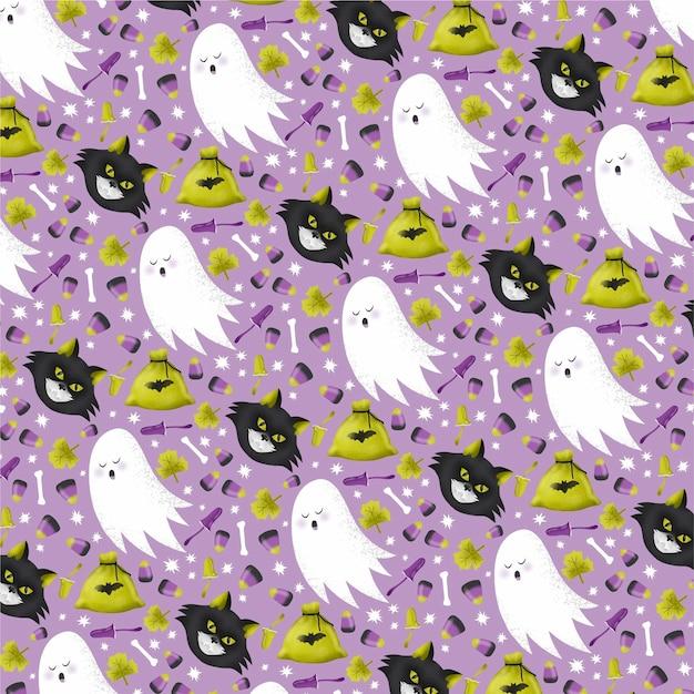 Reticolo di halloween dell'acquerello Vettore gratuito