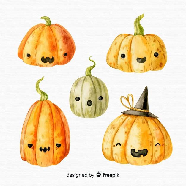 Watercolor halloween pumpkin collection Free Vector