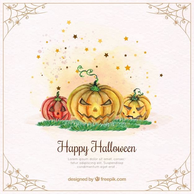 Watercolor halloween pumpkins background Free Vector