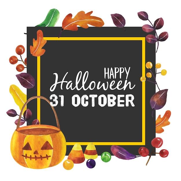 Watercolor halloween with black frame. Premium Vector