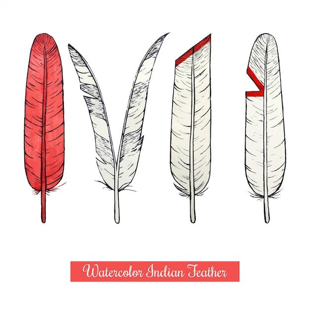 Watercolor hand draw native american war feathers Premium Vector