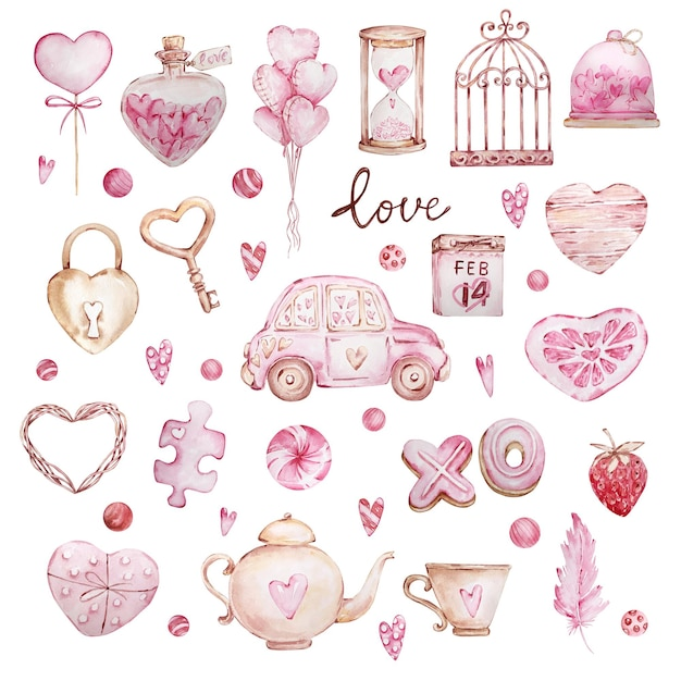 Watercolor hand drawn big set of sweet hearts, car, feather, lock, key isolated on white background Premium Vector
