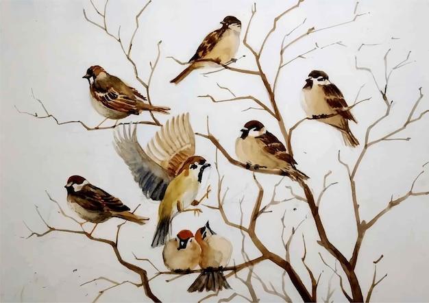 Акварель рисованной иллюстрации птиц Premium векторы