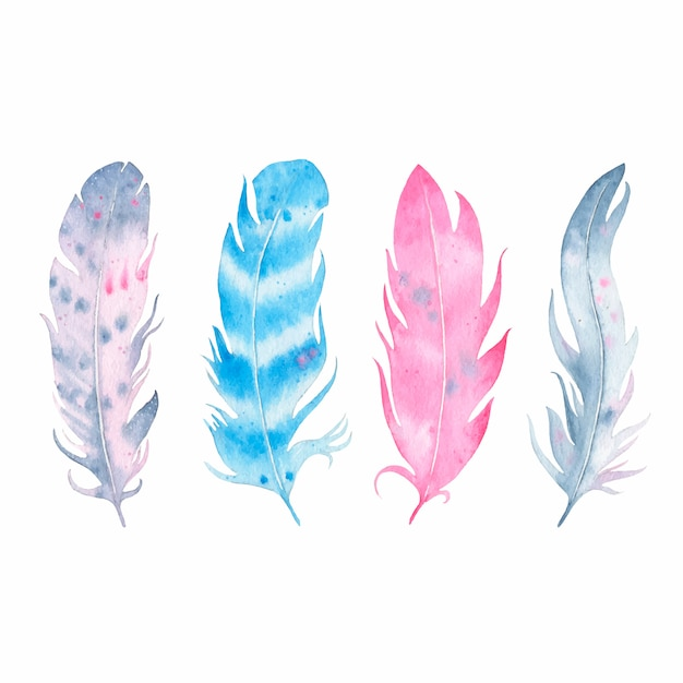 Watercolor hand drawn boho feather set isolated on white Free Vector