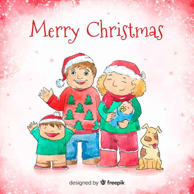 Watercolor hand drawn family christmas portrait Free Vector