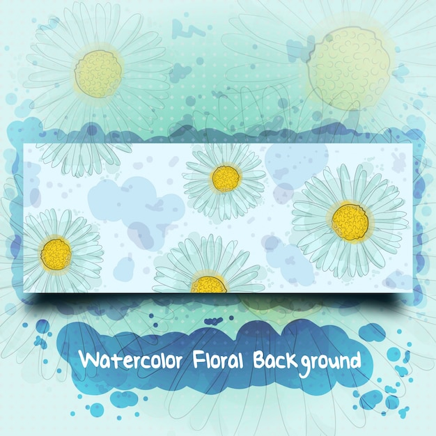 Watercolor hand drawn floral banner background Premium Vector