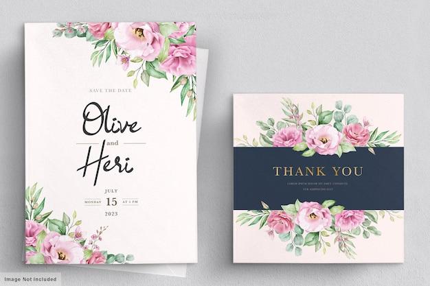 수채화 손으로 그린 꽃 결혼식 초대 카드 서식 파일 무료 벡터
