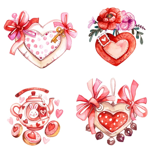 水彩手描きの挨拶バレンタインカード。招待状、バナー。 Premiumベクター