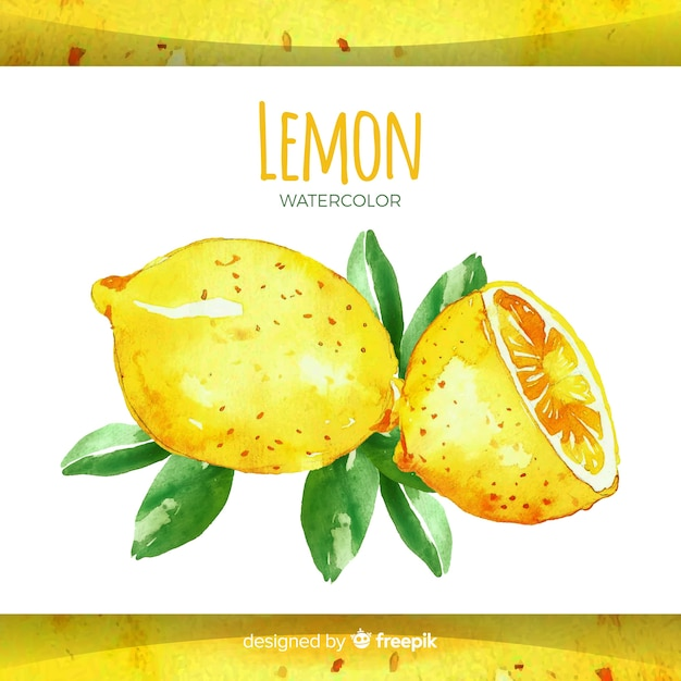 Watercolor hand drawn lemon background Free Vector
