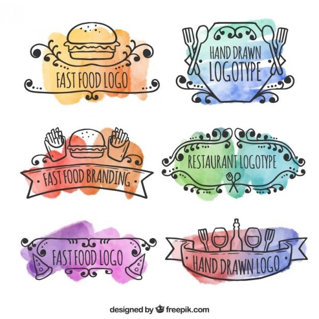Watercolor hand drawn restaurant logos