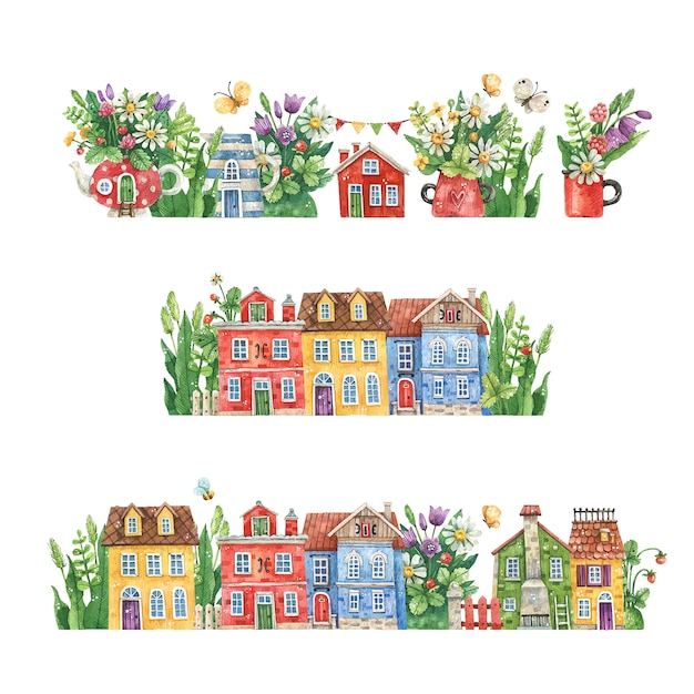 Watercolor hand-drawn streets with rural houses, summer flowers and herbs isolated on a white background. watercolor illustration with floral streets Premium Vector