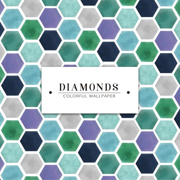 Watercolor hand painted diamond colorful wallpaper