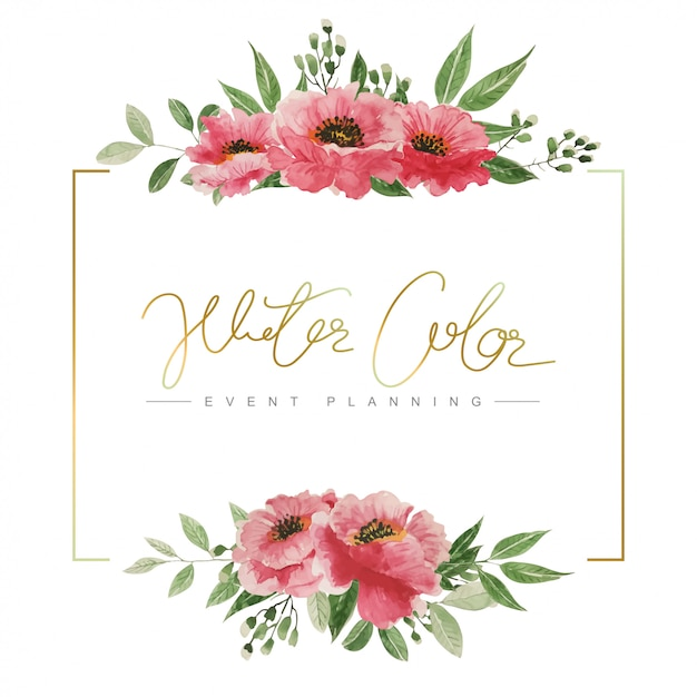 Watercolor hand painted floral frame. Premium Vector