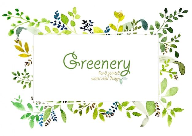 Watercolor hand painted greenery design. Premium Vector