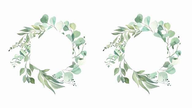 Watercolor hand painted leaves frame. Premium Vector