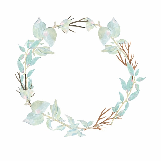 Watercolor hand painted round wreath with flower pink peony anemone and green leaves isolated on white Free Vector