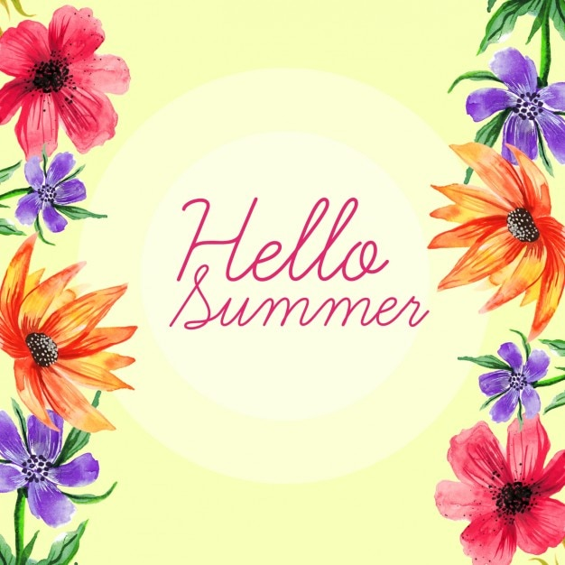 Watercolor hand painted summer\ background