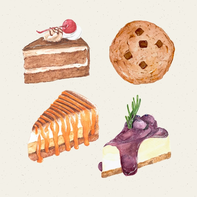 Watercolor hand painted sweet and tasty cake. cake, cookie, cheese cake and banoffee. Premium Vector