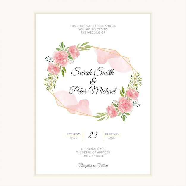 Watercolor hand painted wedding invitation card with carnation flower Premium Vector
