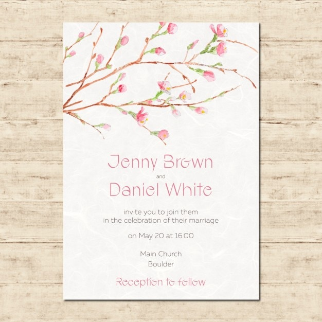 Watercolor Hand Painted Wedding Invitation Vector Free Download