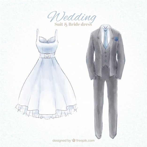 Watercolor Hand Painted Wedding Suit And Dress Vector