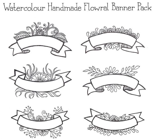 Watercolor handmade floral ribbon pack