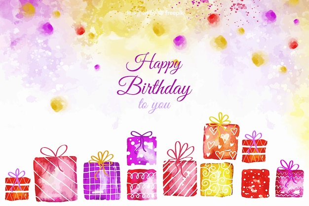 Watercolor happy birthday background with gifts Free Vector