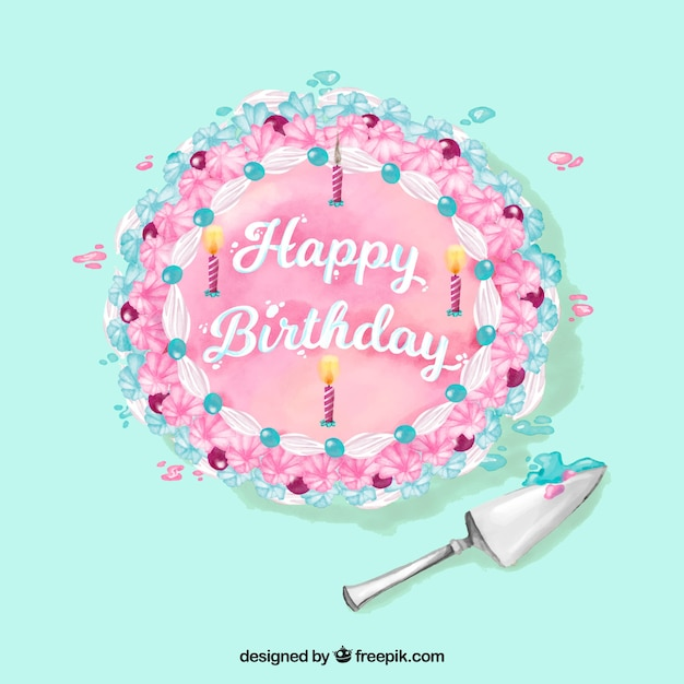 Watercolor happy birthday cake background Vector Free Download