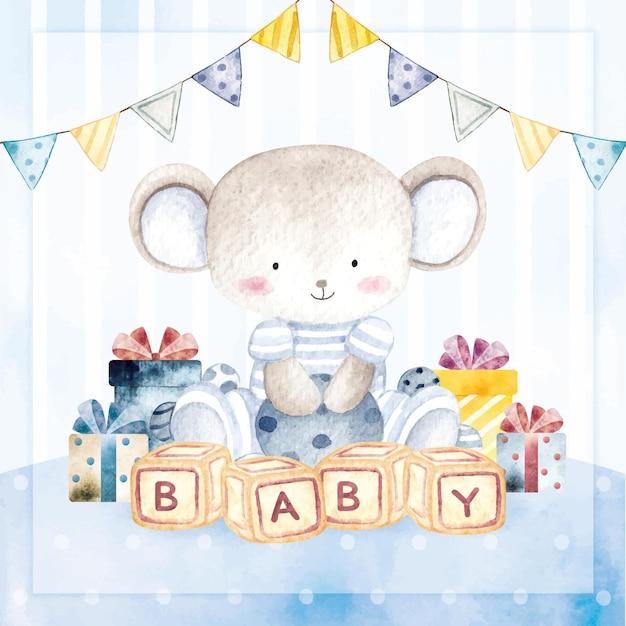 Акварель с днем рождения открытка мышонок мальчик Premium векторы