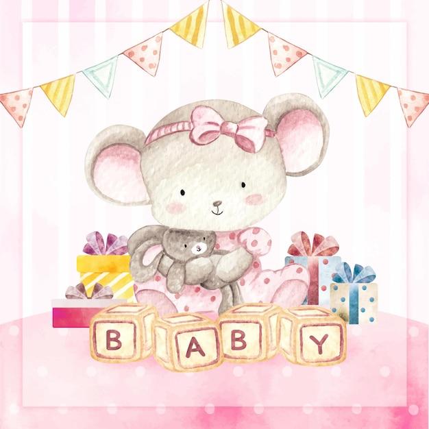 Акварель с днем рождения открытка мышонок девочка Premium векторы