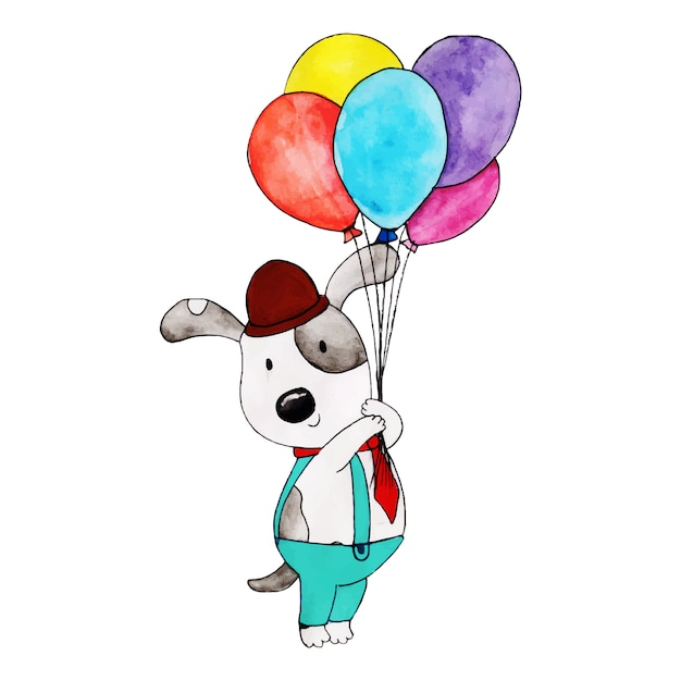 Watercolor Happy Birthday Cute Cartoon Panda Vector Free Download