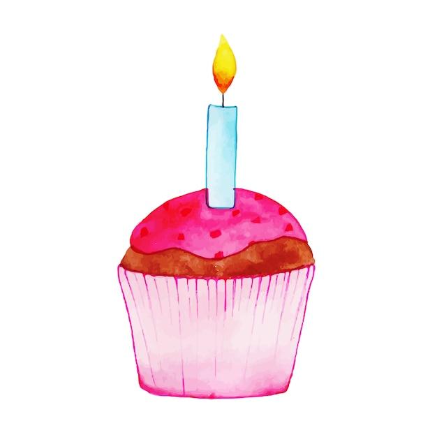 Watercolor Happy Birthday Cute Cupcake Vector Free Download
