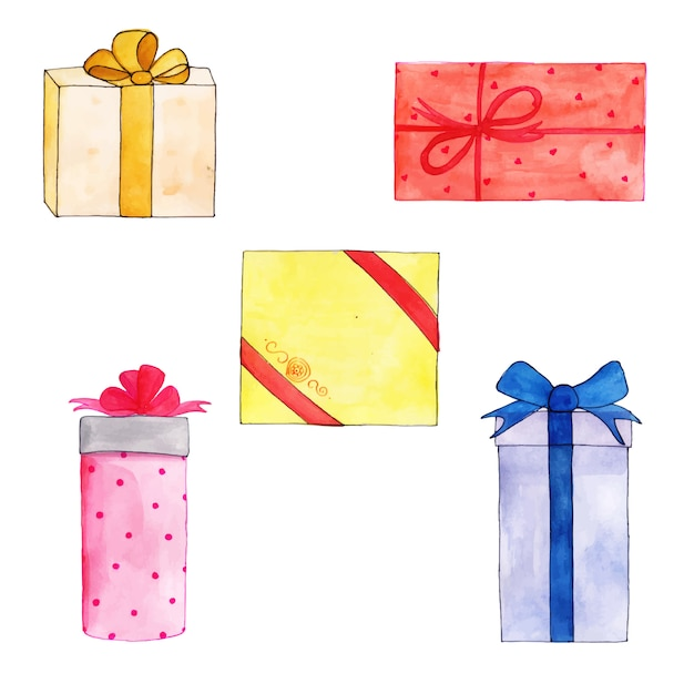 Watercolor Happy Birthday Gifts Collection Free Vector