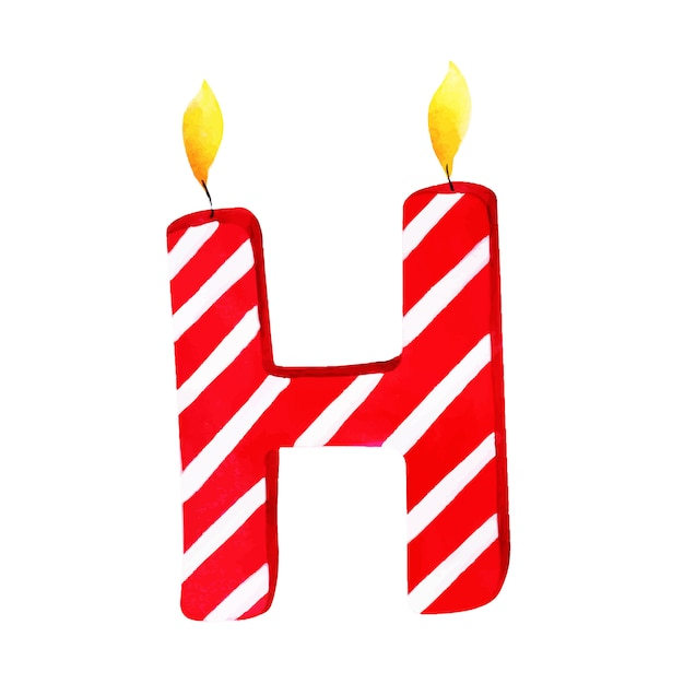 watercolor happy birthday letter h candle premium vector