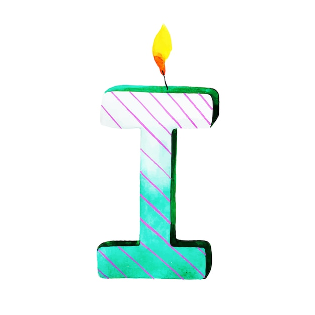 watercolor happy birthday letter i candle free vector