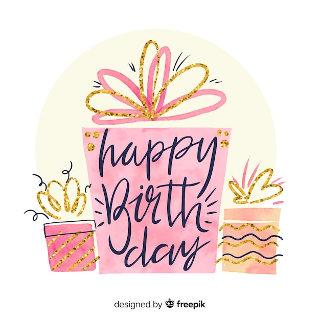 Watercolor happy birthday lettering background Free Vector