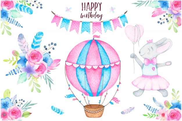 Watercolor happy birthday party set with bunny air balloon garland and flowers bouquets feathers Free Vector