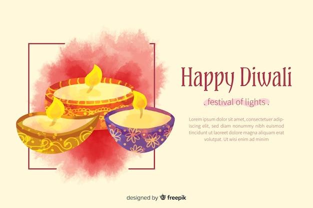 Watercolor happy diwali background Free Vector