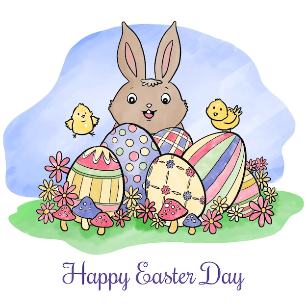Free Vector Watercolor Happy Easter Day Wallpaper