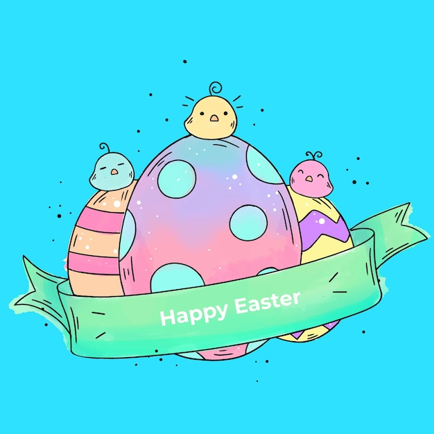 Watercolor happy easter day with eggs and chicks Free Vector