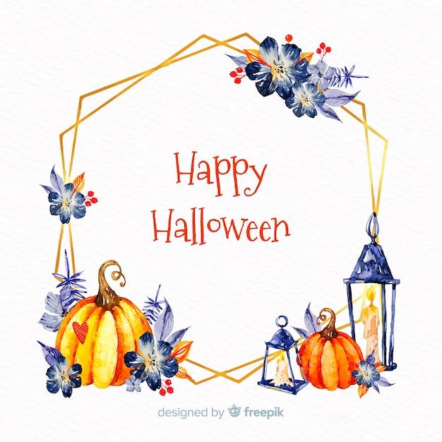 Watercolor happy halloween frame Free Vector