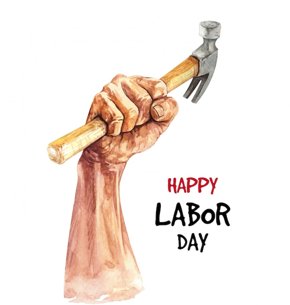 Watercolor happy labor day illustration. Premium Vector