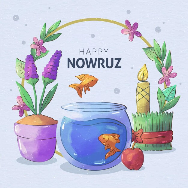 Watercolor happy nowruz celebration Premium Vector
