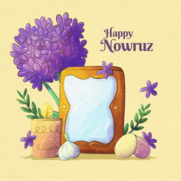 Watercolor happy nowruz event Premium Vector
