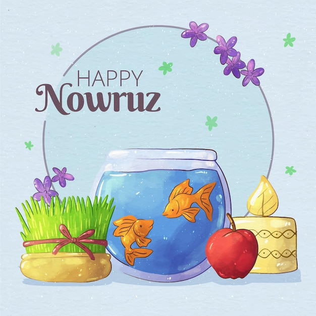 Watercolor happy nowruz illustrationn Free Vector