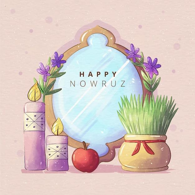Watercolor happy nowruz mirror illustration Free Vector