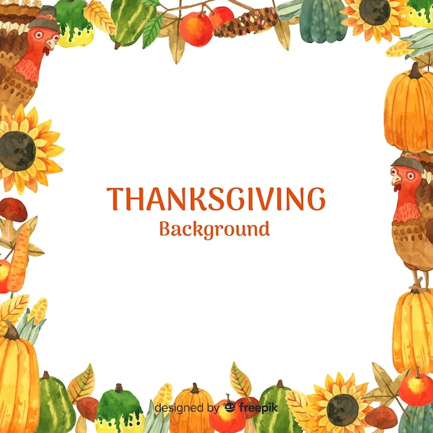 Watercolor happy thanksgiving background Free Vector
