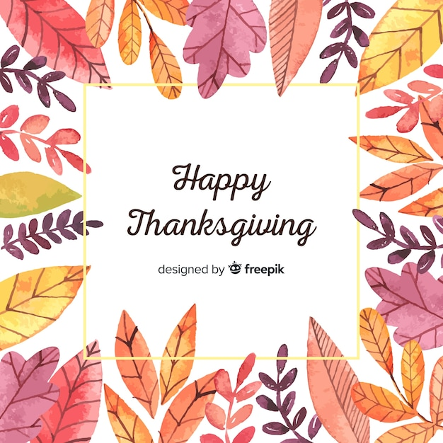 Watercolor happy thanksgiving day background Free Vector